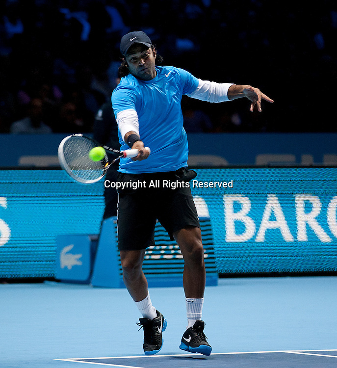 08.11.2012 London, England.  Leander Paes (IND) in action against Granollers and Lopez  during the Barclays ATP World Tour Finals from the 02 Arena.
