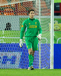 MOSCOW, RUSSIA - Thursday, November 8, 2012: Liverpool's goalkeeper Brad Jones looks dejected as FC Anji Makhachkala score the only goal of the game during the UEFA Europa League Group A match at the Lokomotiv Stadium. (Pic by David Rawcliffe/Propaganda)