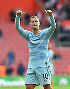 Eden Hazard (10) of Chelsea celebrates the 3-0 win over Southampton at full time during the Premier League match between Southampton and Chelsea at the St Mary's Stadium, Southampton, England on 7 October 2018.