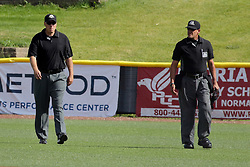 28 May 2017: Umpires Drew Ashcraft and Steve Bartelstein during a Frontier League Baseball game between the Lake Erie Crushers and the Normal CornBelters at Corn Crib Stadium on the campus of Heartland Community College in Normal Illinois