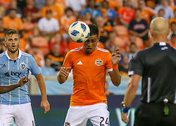 July 18, 2018 - Houston, TX, U.S. - HOUSTON, TX - JULY 18:  Houston Dynamo midfielder Darwin Ceren (24) heads the ball during the US Open Cup Quarterfinal soccer match between Sporting KC and Houston Dynamo on July 18, 2018 at BBVA Compass Stadium in Houston, Texas. (Photo by Leslie Plaza Johnson/Icon Sportswire) (Credit Image: © Leslie Plaza Johnson/Icon SMI via ZUMA Press)