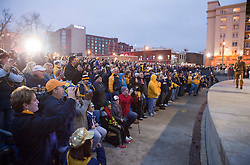 West Virginia Mountaineer fans cheer during a pep rally in downtown Memphis.