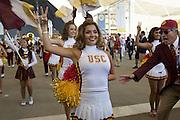 Cheerleards followed by the Trojan's band of University of Southern California during a parade along Decumanus in Expo 2015 for the National day of United States, Rho-Pero, Milan, July 4, 2015. On the right Mr Art Bartner, advisor of the band, cries for something wrong in the performance. &copy; Carlo Cerchioli<br /> <br /> Cheerleader seguite dalla banda Trojan's dell'Univesit&agrave; del sud California in parata lungo il decumano a Expo 2015 per la giornata nazionale degli Stati Uniti, Rho-pPero, Milano, 4 luglio 2015. A dx Art Bartner, consulente della banda Trojan's, grida per qualche cosa di sbagliato nell'esecuzione.