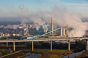 Aerial view of a paper mill in Charleston, South Carolina.