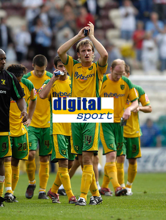 Photo: Jed Wee/Sportsbeat Images. <br /> Preston North End v Norwich City. Coca Cola Championship. 11/08/2007. <br /> <br /> Norwich's Chris Brown leads his team in applauding the travelling supporters.