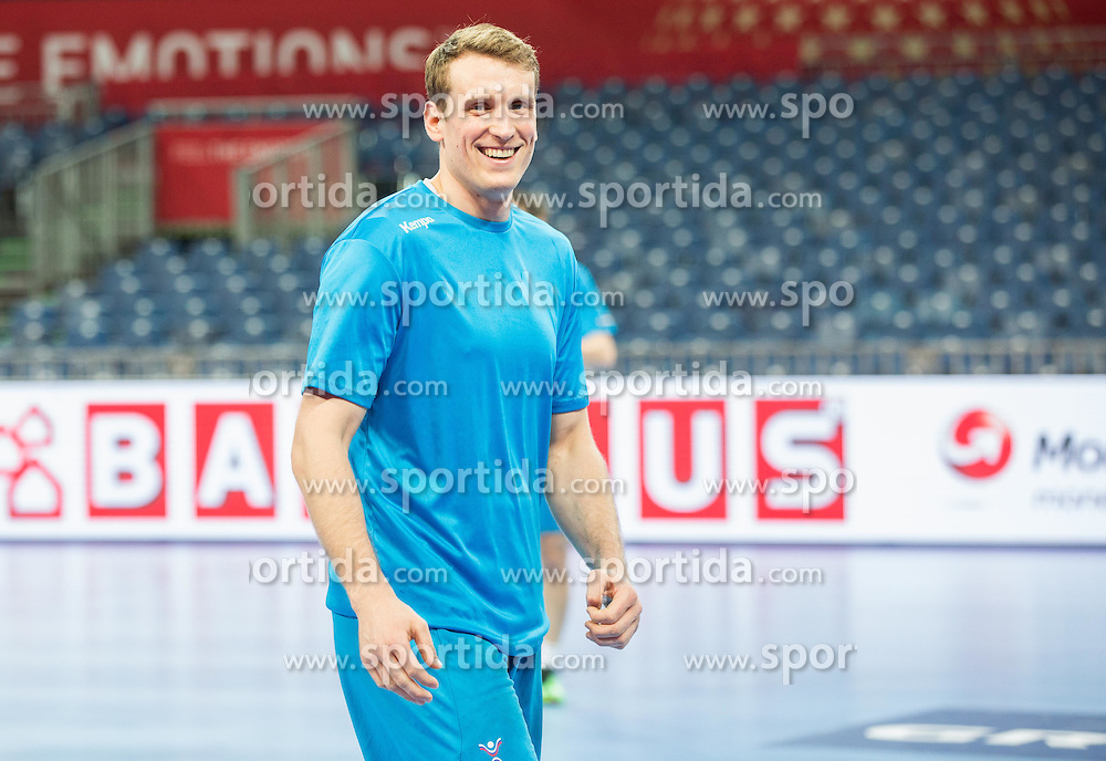 David Miklavcic of Slovenia during practice session of Team Slovenia on Day 1 of Men's EHF EURO 2016, on January 15, 2016 in Centennial Hall, Wroclaw, Poland. Photo by Vid Ponikvar / Sportida