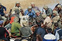 Ouzbekistan, Karchi, Norouz la fetes du printemps, Bouzkachi, les cavaliers se disputent le cadavre d un veau// Uzbekistan, Karchi, Norouz spring festival, Buzkashi, horsemen fight for a veal body