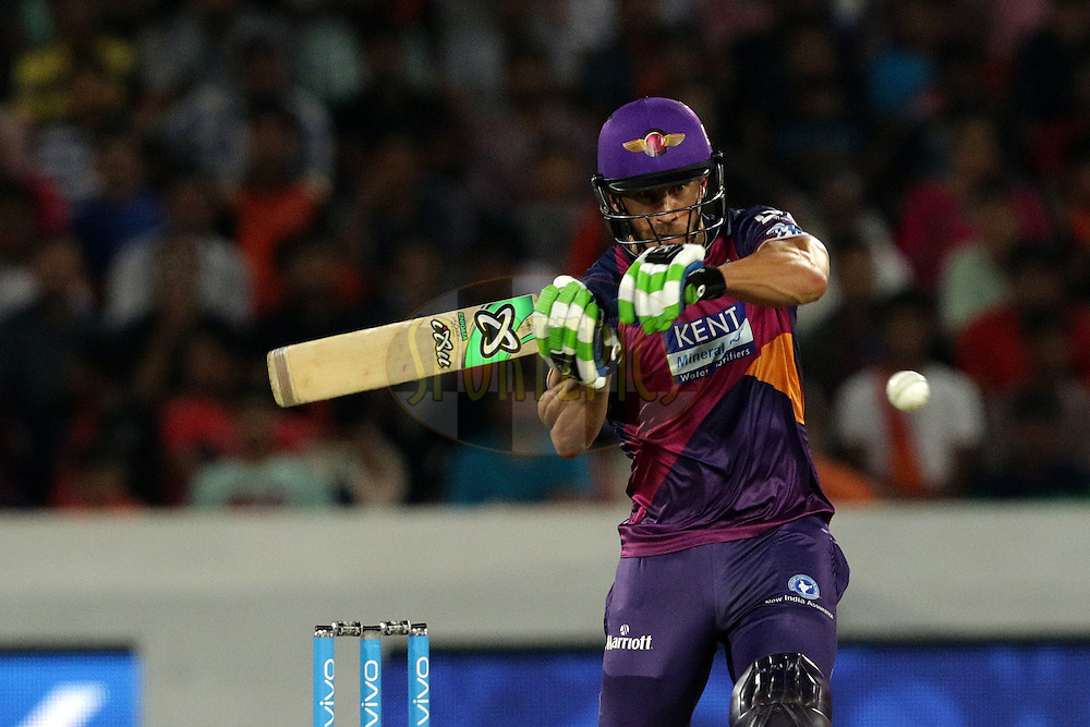 Faf du Plesis of Rising Pune Supergiants plays a shotduring match 22 of the Vivo IPL 2016 (Indian Premier League ) between the Sunrisers Hyderabad and the Rising Pune Supergiants held at the Rajiv Gandhi Intl. Cricket Stadium, Hyderabad on the 26th April 2016<br /> <br /> Photo by Rahul Gulati / IPL/ SPORTZPICS