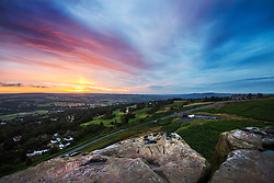 © Licensed to London News Pictures. 02/08/2017. Ilkley UK. APicture shows Cow & Calf rocks at the top of Ilkley Moor in Yorkshire at the break of dawn this morning. Photo credit: Andrew McCaren/LNP
