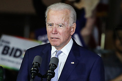 (FILE) Joe Biden's First Official Day As The De Facto 2020 Democratic Presidential Nominee. Vermont Senator Bernie Sanders' decision to quit the race on Wednesday means the former vice president can now fully devote his time and energy to the general election against President Donald Trump. BALDWIN HILLS, LOS ANGELES, CALIFORNIA, USA - MARCH 03: Former Vice President Joe Biden, 2020 Democratic presidential candidate, speaks during the Jill and Joe Biden 2020 Super Tuesday Los Angeles Rally held at the Baldwin Hills Recreation Center on March 3, 2020 in Baldwin Hills, Los Angeles, California, United States. 09 Apr 2020 Pictured: Joe Biden. Photo credit: Xavier Collin/Image Press Agency / MEGA TheMegaAgency.com +1 888 505 6342