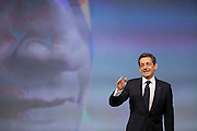 Premier grand meeting du candidat UMP Nicolas Sarkozy en presence de sa femme Carla Bruni-Sarkozy a Marseille le dimanche 19 fevrier 2012