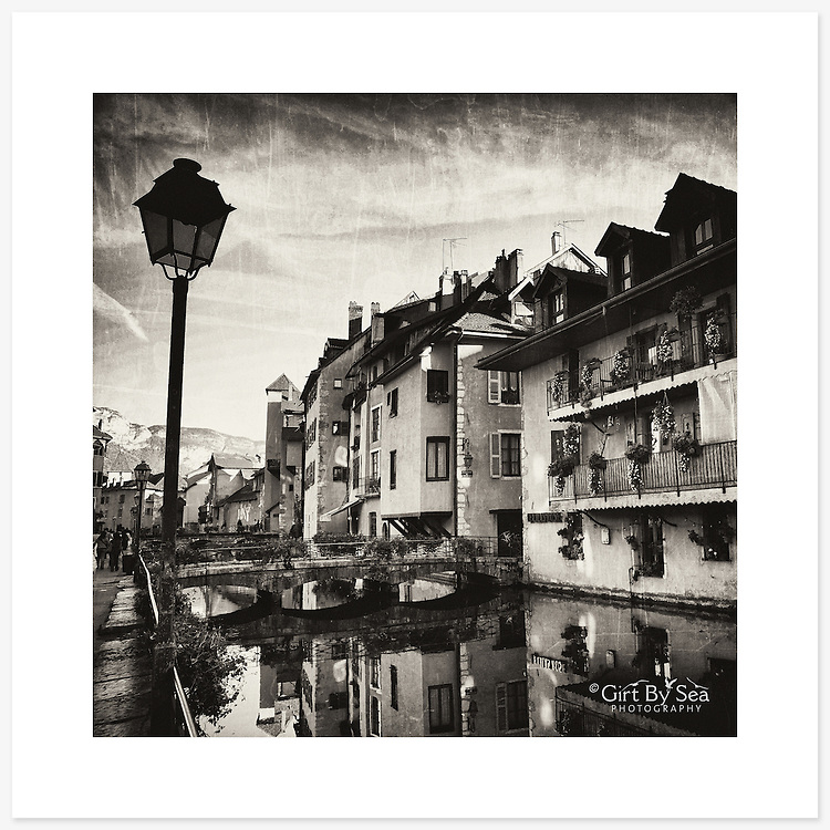 Vieille Ville, Annecy, France - Monochrome version. Inkjet pigment print on Canson Infinity Rag Photographique 310gsm 100% cotton museum grade Fine Art and photo paper.<br /> <br /> 8x8&quot; Prints: First print $49. Additional prints in same order $29. (A half inch white border is added for safe handling. Size with border 9x9&rdquo;).<br /> <br /> Frame-Ready Prints: Add $29 per print. Includes mounting on 12x12&rdquo; foam-board, plus white matboard with 8x8&rdquo; photo opening. Suits standard 12x12&rdquo; frames.<br /> <br /> Price includes GST &amp; postage within Australia. <br /> <br /> Order by email to orders@girtbyseaphotography.com  quoting image title or reference number, your contact details, delivery address &amp; preferred payment method (PayPal or Bank Deposit). You will be invoiced by return email. Normally ships within 7 days of payment.