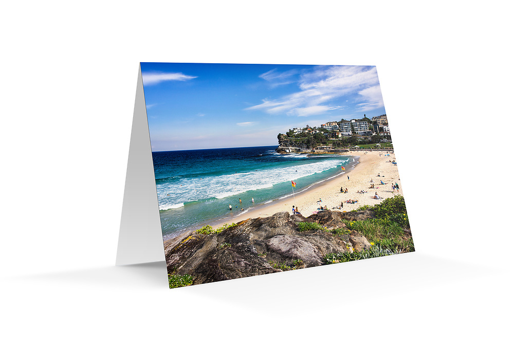 "Photo Art Greeting Card - Sydney Coastal Collection (Bronte Beach). Printed in Sydney on quality matte card stock, 174 x 123mm, blank inside, envelope included, packaged in sealed poly bag. Click ""Add to Cart"" to choose your own mix of 5, 10, or 20 cards from this collection."