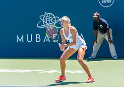 August 5, 2018 - San Jose, CA, U.S. - SAN JOSE, CA - AUGUST 05: Nadiia Kichenok (UKR) sets for a serve during the WTA Doubles Championship match at the Mubadala Silicon Valley Classic on the San Jose State University Stadium Court in San Jose, CA  on Sunday, August 5, 2018. (Photo by Douglas Stringer/Icon Sportswire) (Credit Image: © Douglas Stringer/Icon SMI via ZUMA Press)