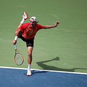 2017 U.S. Open - August 28.  DAY ONE. Tennys Sandgren of the United States in action against Marin Cilic of Croatia in action during the Men's Singles round one match at the US Open Tennis Tournament at the USTA Billie Jean King National Tennis Center on August 28, 2017 in Flushing, Queens, New York City.  (Photo by Tim Clayton/Corbis via Getty Images)