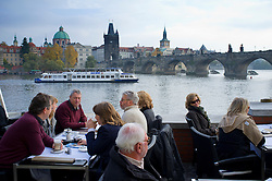 Cafe beside River Vltava in Prague in Czech Republic