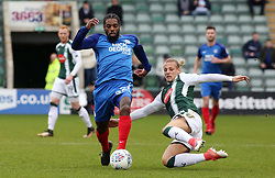 Anthony Grant of Peterborough United in action with Oscar Threlkeld of Plymouth Argyle - Mandatory by-line: Joe Dent/JMP - 07/04/2018 - FOOTBALL - Home Park - Plymouth, England - Plymouth Argyle v Peterborough United - Sky Bet League One