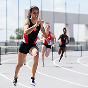23 March 2018:  Maya Brosch competes in the 400 meter hurdles open event Friday afternoon at the 40th Annual Aztec Invitational<br /> More game action at sdsuaztecphotos.com