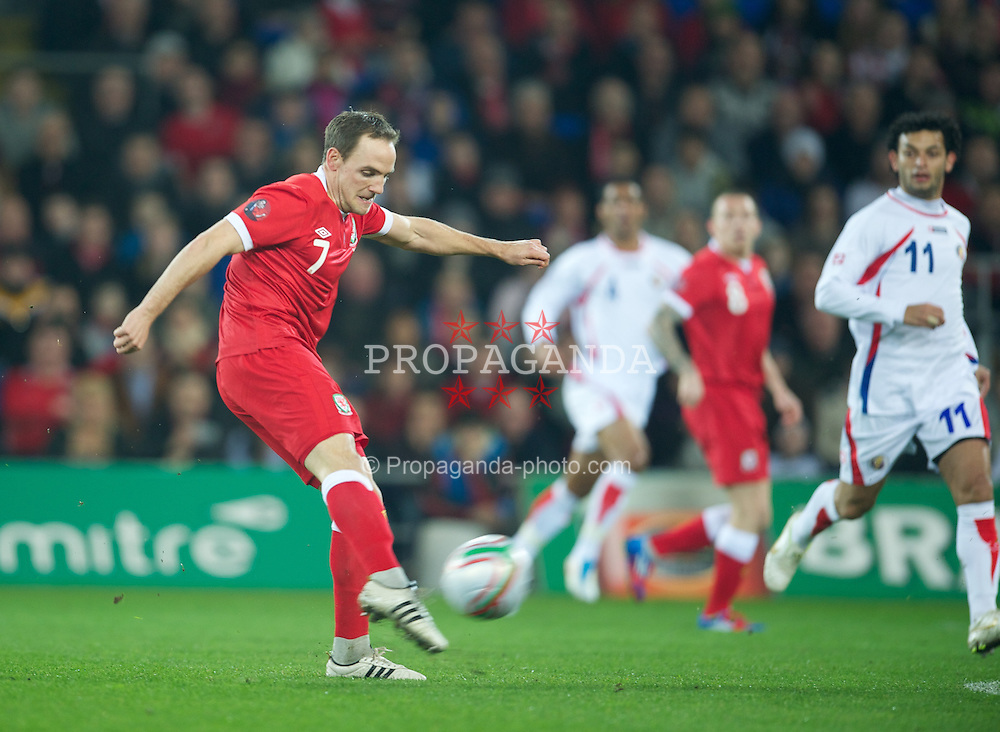 CARDIFF, WALES - Wednesday, February 29, 2012: Wales' David Vaughan in action against Costa Rica during the international friendly match at the Cardiff City Stadium. (Pic by David Rawcliffe/Propaganda)