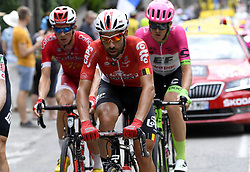 July 20, 2018 - Valence, France - VALENCE, FRANCE - JULY 20 : DE GENDT Thomas (BEL) of Lotto Soudal, CLAEYS Dimitri (BEL) of Cofidis, Solutions Credits, SCULLY Tom (NZL) of Team EF Education First - Drapac p/b Cannondale  during stage 13 of the 105th edition of the 2018 Tour de France cycling race, a stage of 169.5 kms between Bourg d'Oisans and Valence on July 20, 2018 in Valence, France, 20/07/2018 (Credit Image: © Panoramic via ZUMA Press)