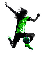 one woman playing soccer player in silhouette isolated on white background