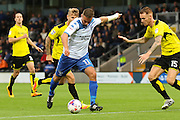 Bury FC striker Tom Pope (11) heads for goal during the EFL Cup match between Burton Albion and Bury at the Pirelli Stadium, Burton upon Trent, England on 10 August 2016. Photo by Aaron  Lupton.