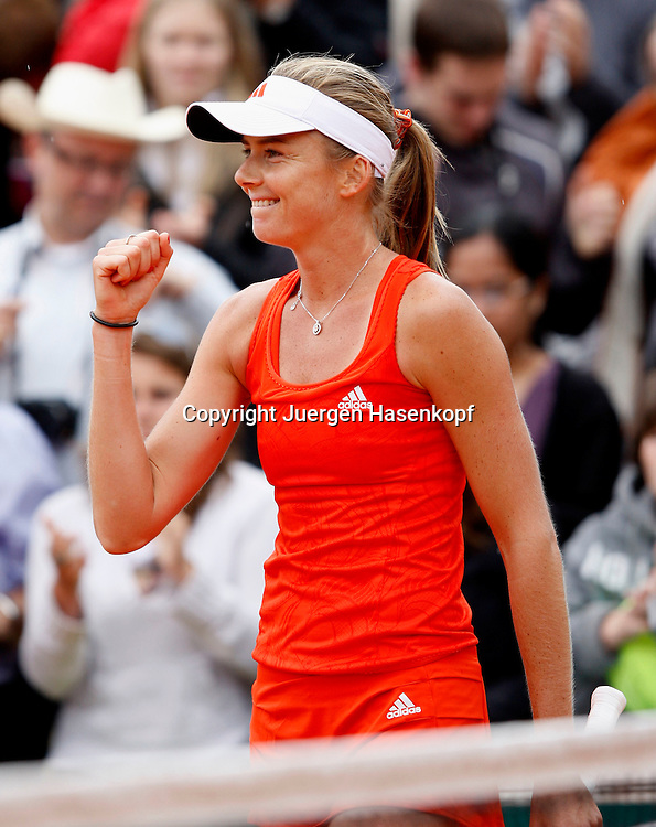 French Open 2010, Roland Garros, Paris, Frankreich,Sport, Tennis, ITF Grand Slam Tournament, Daniela Hantuchova (SVK) jubelt am nets,Jubel,Emotion,..Foto: Juergen Hasenkopf..