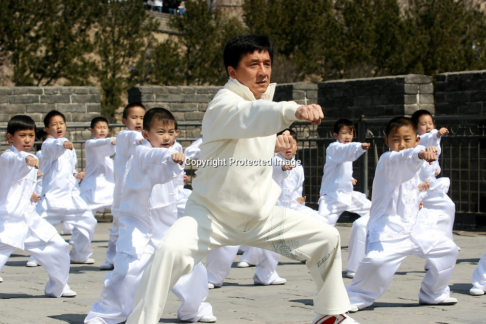 Apr 3, 2008, Beijing, China, Jackie Chan in the production of MV Beijing Welcomes You and We Are Ready at Great Wall.