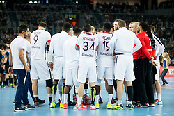 Players of Paris Saint-Germain during handball match between PPD Zagreb (CRO) and Paris Saint-Germain (FRA) in 11th Round of Group Phase of EHF Champions League 2015/16, on February 10, 2016 in Arena Zagreb, Zagreb, Croatia. Photo by Urban Urbanc / Sportida