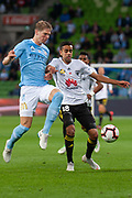 MELBOURNE, VIC - NOVEMBER 09: Wellington Phoenix midfielder Sarpeet Singh (18) competes with Melbourne City defender Harrison Delbridge (4) at the Hyundai A-League Round 4 soccer match between Melbourne City FC and Wellington Phoenix on November 09, 2018 at AAMI Park in Melbourne, Australia. (Photo by Speed Media/Icon Sportswire)