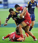 Malakai Fekitoa in action for the Highlanders. Investec Super Rugby - Highlanders v Reds 27 February 2015, Forsyth Barr Stadium, Dunedin, New Zealand. Photo: New Zealand. Photo: Richard Hood/www.photosport.co.nz
