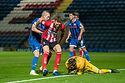 Josh Vickers of Lincoln City collects the ball from a Rochdale attack during the EFL Sky Bet League 1 match between Rochdale and Lincoln City at the Crown Oil Arena, Rochdale, England on 17 September 2019.