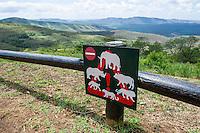 Big-Five warning signage, Hluhluwe Game Reserve, KwaZulu Natal, South Africa