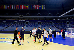 Players during practice session of Slovenia national team 1 day before handball match against Macedonia for 5th place at 10th EHF European Handball Championship Serbia 2012, on January 26, 2012 in Beogradska Arena, Belgrade, Serbia.  (Photo By Vid Ponikvar / Sportida.com)