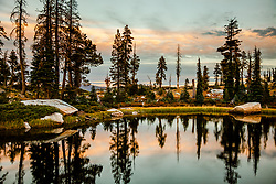 """Helgramite Lake Sunset"" - Sunset photo taken while backpacking in the Long Lake are of Plumas National Forest."