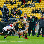 Ben Lam runs during the Super rugby (Round 12) match played between Hurricanes  v Lions, at Westpac Stadium, Wellington, New Zealand, on 5 May 2018.  Hurricanes won 28-19.