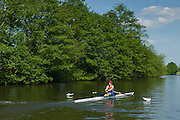 Oarsman rowing skiff on the River Thames in Berkshire, UK