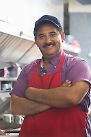 Portrait of man in restaurant kitchen