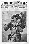American Revolutionary War soldier with flag, 1776. Cover of Harper's Weekly Centennial 1876