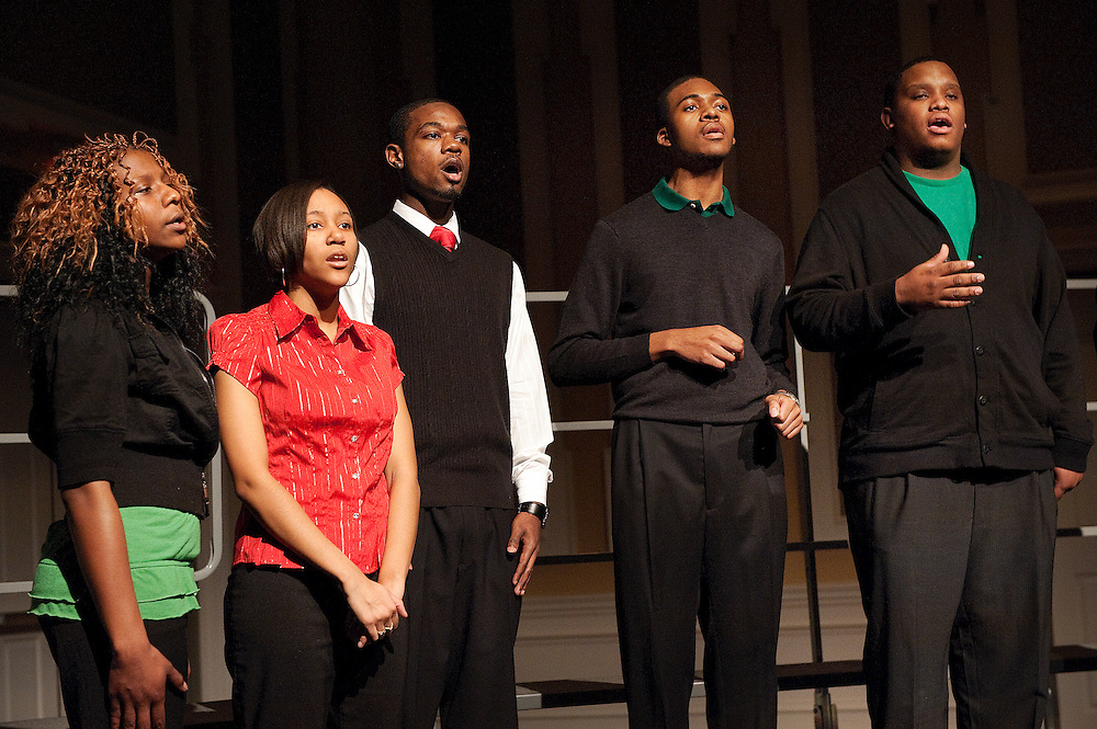 Divine Covering sings at the Campus Community Connections to the Civil Rights Movement program in the Baker Center on January 17, 2009.