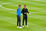 Notts County manager Harry Kewell on the pitch with one of his players before the EFL Sky Bet League 2 match between Exeter City and Notts County at St James' Park, Exeter, England on 8 September 2018.