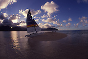 Catamaran at sandbar, Kaneohe Bay, Oahu, Hawaii<br />