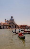 beautiful, classic view of two gondolas in front of Santa Maria Della Salute in Venice, Italy.