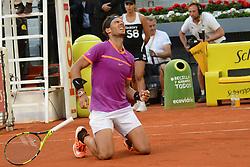 May 14, 2017 - Madrid, Spain - RAFAEL NADAL OF Spain celebrates winning the Mutua Madrid Open tennis tournament. (Credit Image: © Christopher Levy via ZUMA Wire)