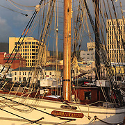 Soren Larsen (famous for her role in the Onedin Line series), at dawn on the final day, Tall Ships Festival 2013, Hobart, Tasmania, Australia