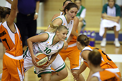 Katarina Ristic and Sandra Pirsic at basketball qualification match of women division B  between National teams of Slovenia and Netherlands, on August 27, 2008, in Vitranc Hall, Kranjska Gora. Win of NED 83:81. (Photo by Vid Ponikvar / Sportida)