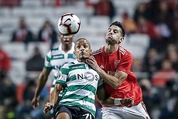 February 7, 2019 - Na - Lisbon, 06/02/2019 - SL Benfica received Sporting CP tonight at the Est√°dio da Luz stadium in the first leg of the Portuguese Cup 2018/19 semi-final. Bruno Gaspar; Pizzi  (Credit Image: © Atlantico Press via ZUMA Wire)