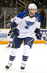 January 6, 2010; San Jose, CA, USA; St. Louis Blues right wing David Backes (42) before the game against the San Jose Sharks at HP Pavilion. San Jose defeated St. Louis 2-1 in overtime. Mandatory Credit: Jason O. Watson / US PRESSWIRE