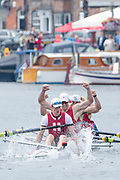 Henley Royal Regatta, 3-7 July 2019. Harvard University, U.S.A., celebrate, after crossing the Finish Line, to win the Prince Albert Challenge Cup, Royal Henley Peace Regatta Centenary, 1919-2019. Henley on Thames.<br /> <br /> <br /> <br /> [Mandatory Credit: Patrick WHITE/Intersport Images], 7, 07/07/2019,  11:47:39