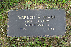 31 August 2017:   Veterans graves in Park Hill Cemetery in eastern McLean County.<br /> <br /> Warren A Sears  Staff Sergeant US Army World War II  1915 1984